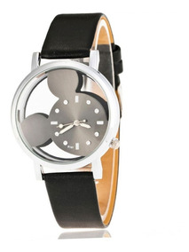 Relógio Feminino De Pulso Preto Mickey Mouse Transparente