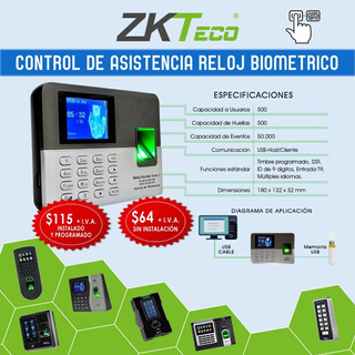 Reloj Biometrico Control De Asistencia Lector De Huella Lx50
