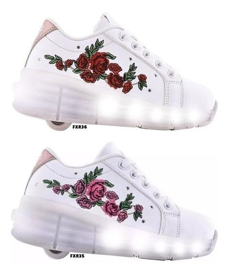 Zapatillas Ruedas Footy Luces Flores Mmk Fxr35 Fxr36