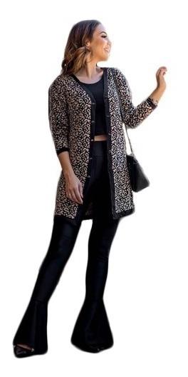 Kimono Cardigan Blusa Trico Tricot La Feminino Inverno Boho