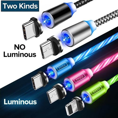 Cable Magnetico 3 En 1 Con Luces Led
