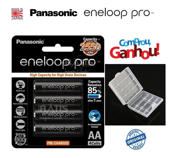 Pilhas Eneloop Pro Panasonic 4 Pilhas Aa 2550mah Originais