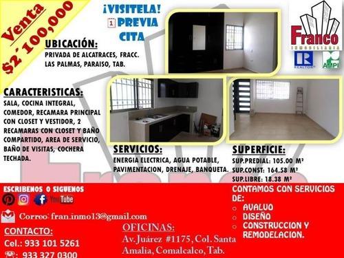 Casa Sola En Venta Fracc. Las Palmas
