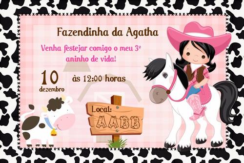 Arte Convite Digital Fazendinha Rosa Meninas