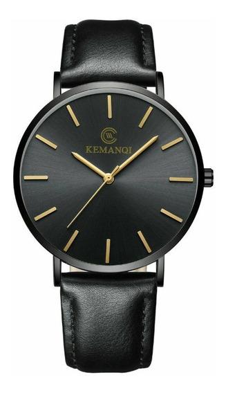 Relógio Pulseira De Couro Analógico Quartz 2x1