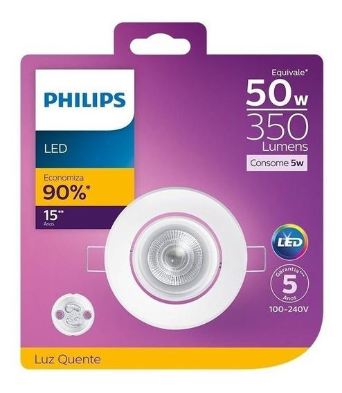Spot De Led Redondo 5w 2700k Gu10 Luz Amarela Philips