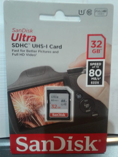 Cartão Memoria Sd Ultra Sandisk 32gb- 80mb/s