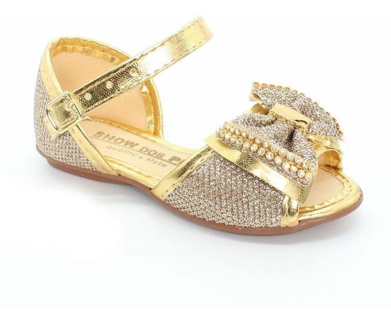 Sandalia Rasteirinha Infantil Feminina Dourada Moda Barato