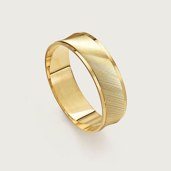 Aliança Casamento Trabalhada Ouro18k. Garantia + Nota Fiscal