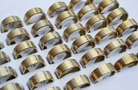 Lote 25 Anéis - Ouro - Aço Inoxidável.