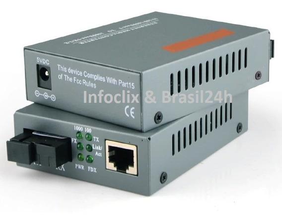 1 Par Conversor Mídia Giga Fibra Óptica 1000 Mbps 20 Km A/b