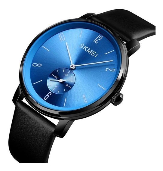 Reloj Hombre Skmei 1398 De Cuarzo Elegante Correa Piel