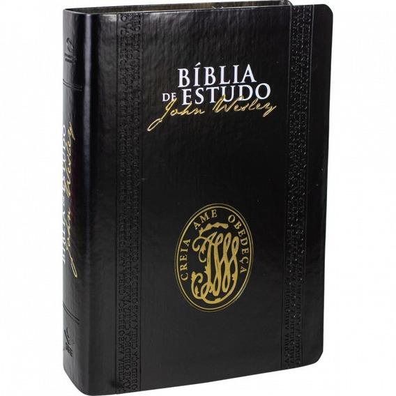 Bíblia De Estudo John Wesley Capa Couro Preta Sbb