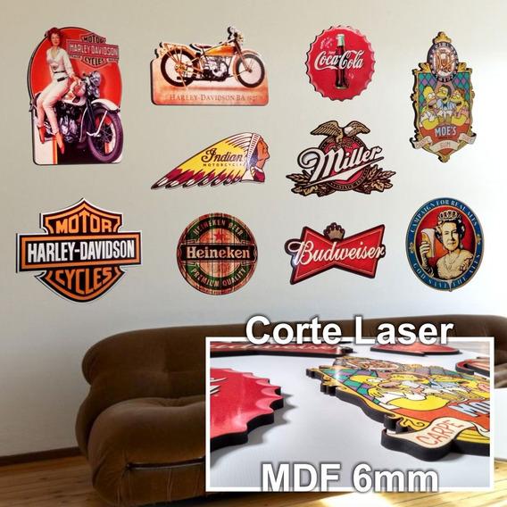 Kit 10 Placas Decorativa Mdf6mm Pub Cerveja Coca Bar Bebidas