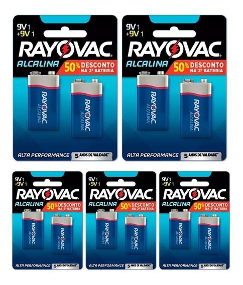 Bateria Rayovac Alcalina 9v / 05 Cartelas = 10 Unidades