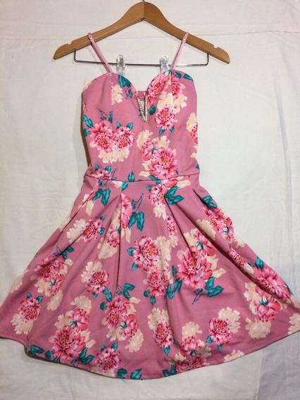 Vestido Rosa Palo Con Escote De Corazón. Tirantes Ajustables
