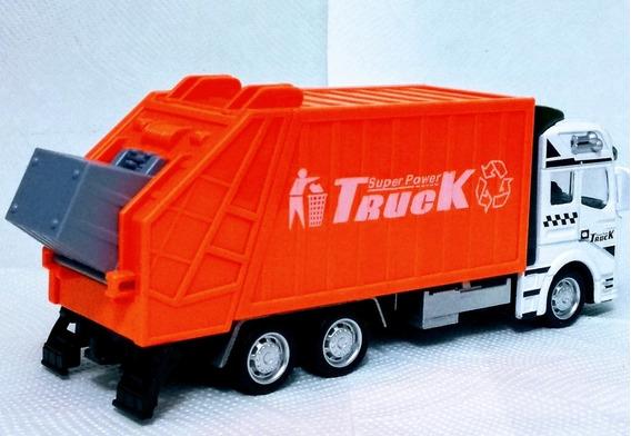 Caminhão Coleta Seletiva Lixo Brinquedo Metal 1/50 Fricção