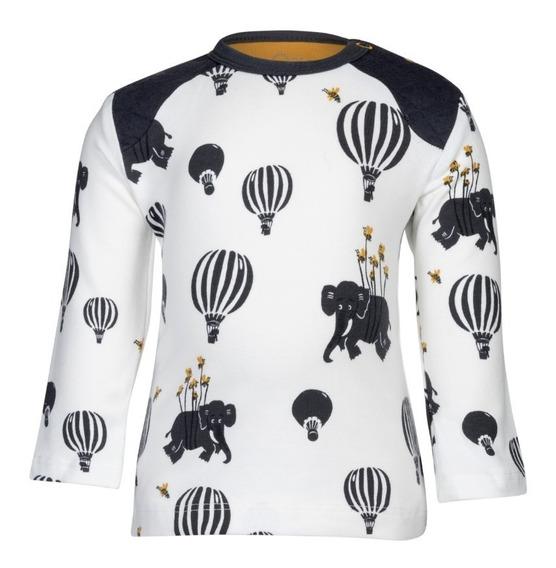 Camiseta De Manga Longa-noeser -airballoon-branco C/ Estampa