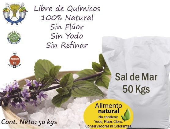 1 Costal De 50 Kilos De Sal De Mar Orgánica 100% Natural
