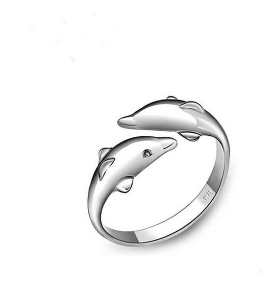 Anillo De Plata .925 Para Dama Talla Ajustable Modelo Delfines.