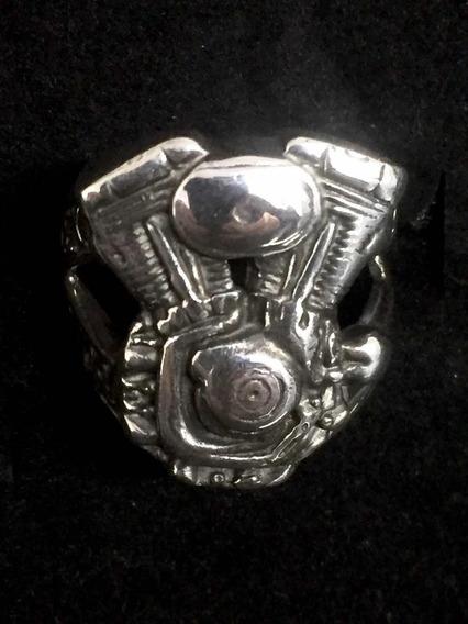 Anel Motor Harley Davidson Prata 925