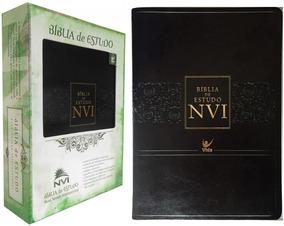Bíblia De Estudo Nvi Capa Luxo Couro Cor Preta Edi. Vida