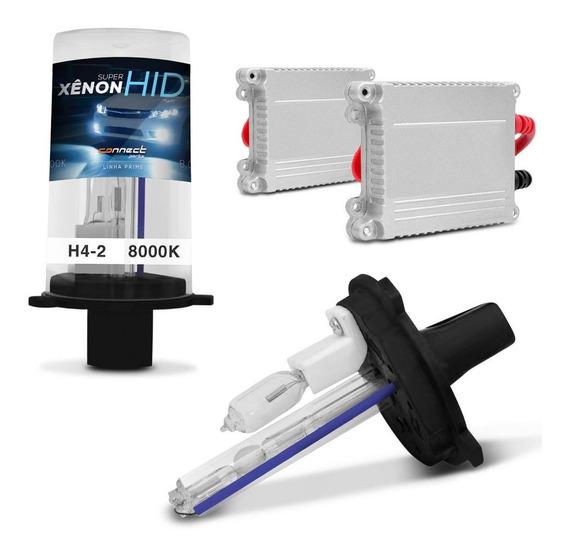 Kit Xenon H4-2 8000k Azulado Completo