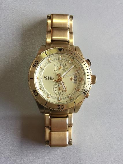 Relógio Fossil Ch2974 Masculino Dourado Prata Original A Prova D