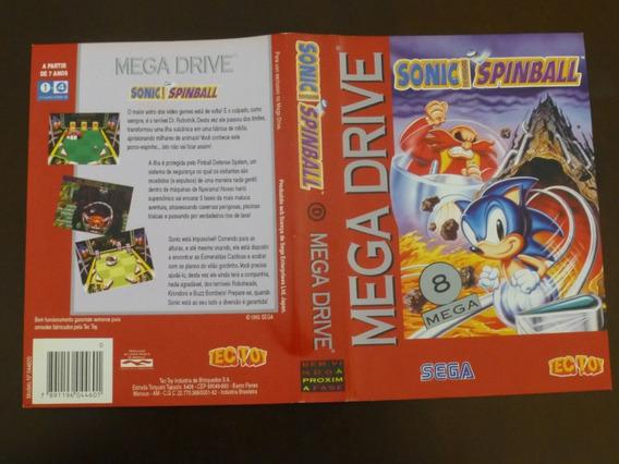 Capa Encarte Caixa Sonic Hedgehog Spinball Mega Drive Tectoy