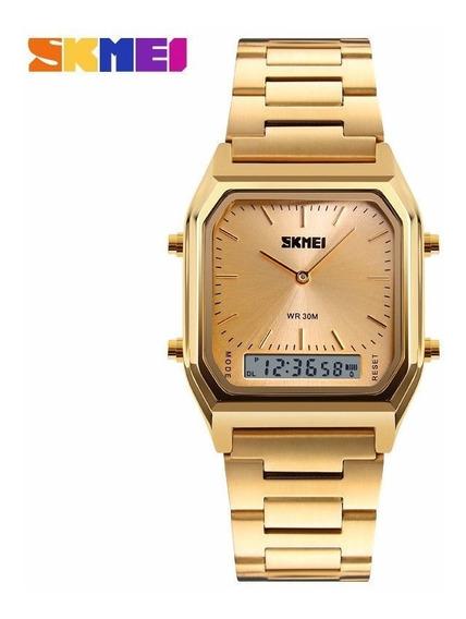 Relógio Skmei Dourado Retrô Vintage Estilo Casio