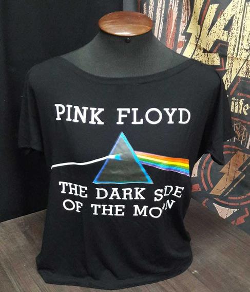 Camiseta Pink Floyd Feminina Moon Canoa Viscose Show Malhas