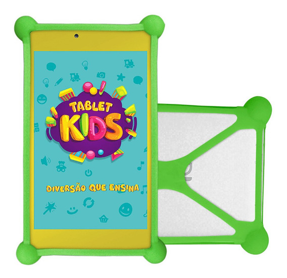 Tablet Dl Kids Infatil Branco Com Capa Bumper Verde