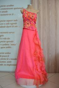 Vestido De Festa - Longo, Rosa, Tafetá Com Bordado
