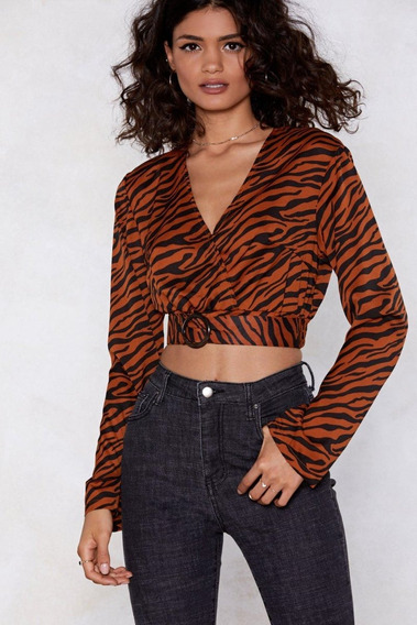 Crop Top Animal Print Camel Cinturon Moda Mujer