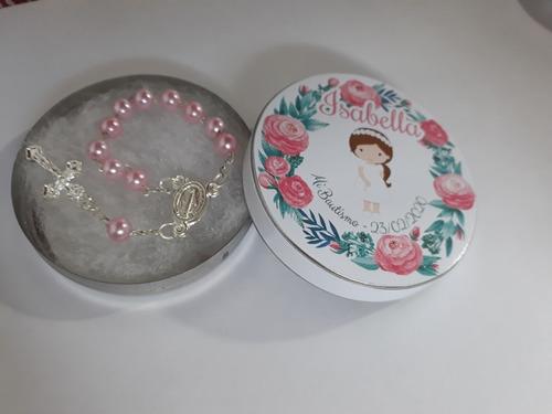 30 Latitas Personalizadas Con Mini Rosario Souvenirs