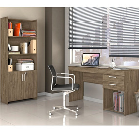 Conjunto Multiuso E Mesa Home Office Notável Canela