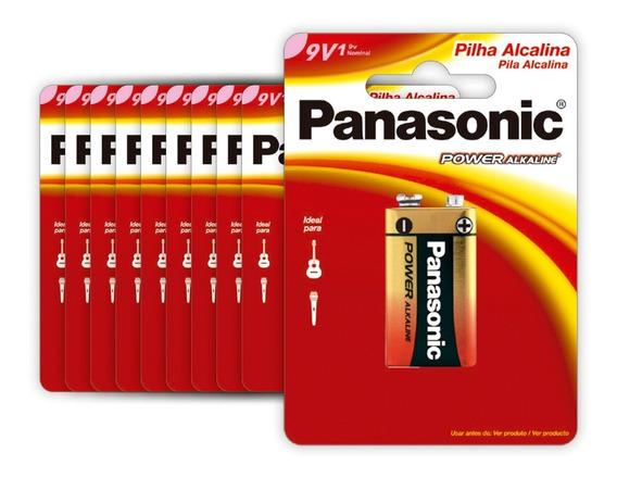 10 Baterias Alcalinas Panasonic 9v