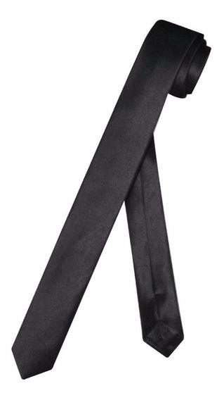 Corbata Negra Solido Slim Satinada Hombre Y Mujer / Impoluz