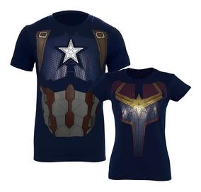 Playera Capitána Marvel Capitán América Parejas Endgame