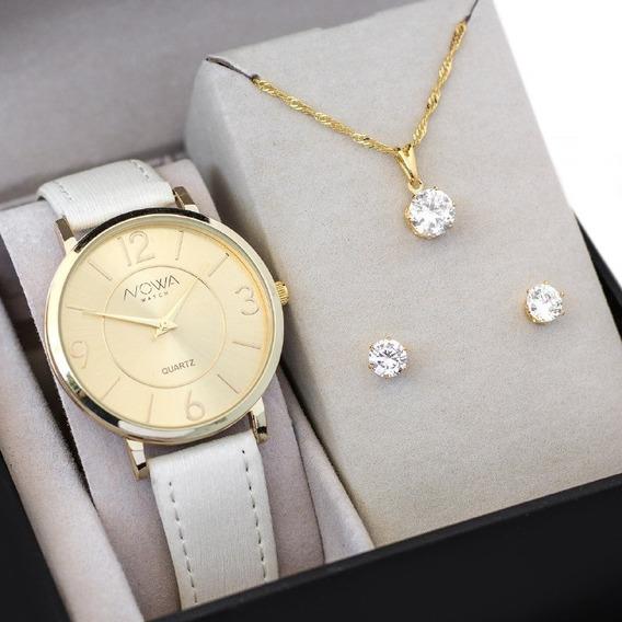 Relógio Feminino Nowa De Couro Nw1411k Com Kit Colar E Brinco
