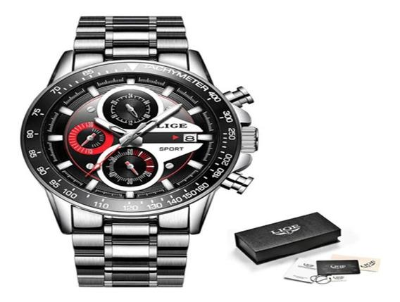Relógio Masculino Lige Em Aço E À Prova De Agua Modelo 9835