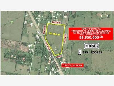 Terreno En Venta Carret. Vhsa-macuspana Km 17