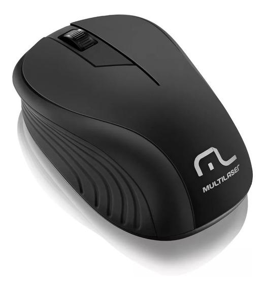 Mouse Multilaser Sem Fio 2.4ghz Preto Usb Mo212 + Mouse Pad