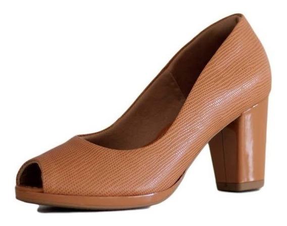 Sapato Peep Toe Usaflex Salto Grosso 9208 Melhor Preço!
