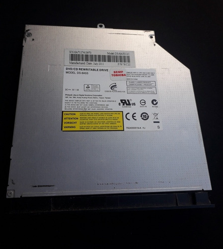 Dvd Rom/cd-rom Para Notebook P/n Ds-8a5s