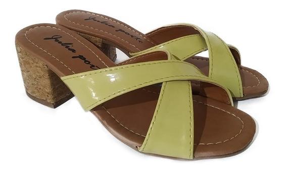Tamanco Feminino Sapato De Salto Alto Médio Grosso Confortável Poucas Unidades