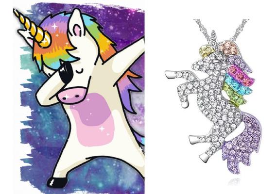 Colar Unicornio,strass Colorido,zinco,c/caixa,pony,linda.