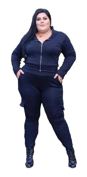 Conjunto Roma Calça E Blusa Plus Size Malha Tecido Roma