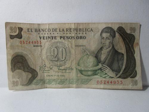 Imagen 1 de 5 de Billete 20 Veinte Pesos Oro Colombia Enero 1 De 1982