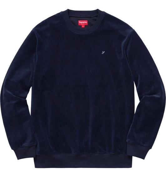 Supreme Sueter Crewneck Velour Terciopelo Sweater Talla L